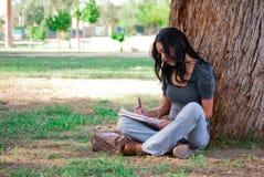 Mujer joven que estudia en el parque Foto de archivo libre de regalías