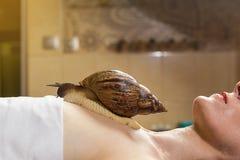 Mujer joven que experimenta el tratamiento con los caracoles de Achatina del gigante en b Fotos de archivo libres de regalías