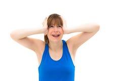 Mujer joven que grita. Foto de archivo