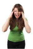 Mujer joven que grita Fotografía de archivo libre de regalías