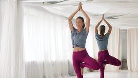 Mujer joven que hace actitud del árbol de la yoga en el estudio almacen de video