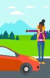 Mujer joven que hace autostop stock de ilustración