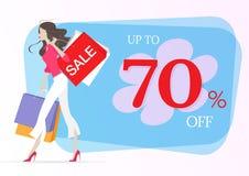 Mujer joven que hace compras que camina con los panieres ilustración del vector