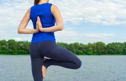 Mujer joven que hace ejercicio de la yoga en la estera 24 Imágenes de archivo libres de regalías