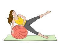 Mujer joven que hace exercise_04 stock de ilustración