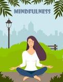 Mujer joven que hace la meditación en actitud del loto con los ojos cerrados La muchacha hermosa se relaja, practicando yoga en p stock de ilustración