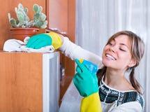 Mujer joven que hace limpieza Foto de archivo