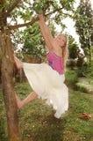 Mujer joven que hace pivotar de un árbol Imagen de archivo libre de regalías