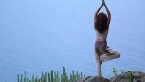 Mujer joven que hace yoga en una costa rocosa en la puesta del sol El concepto de una forma de vida sana armonía Ser humano y nat metrajes