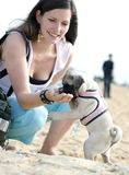 Mujer joven que introduce su perro Imágenes de archivo libres de regalías
