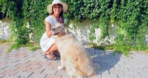 Mujer joven que juega con un perro foto de archivo libre de regalías