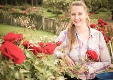 Mujer joven que lleva a cabo una cesta y una situación en el parque de rosas Fotos de archivo