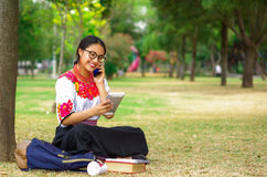 Mujer joven que lleva la falda y la blusa andinas tradicionales con el collar rojo a juego, asistiendo en hierba al lado de árbol Fotografía de archivo