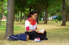 Mujer joven que lleva la falda y la blusa andinas tradicionales con el collar rojo a juego, asistiendo en hierba al lado de árbol Fotos de archivo libres de regalías