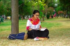 Mujer joven que lleva los vidrios tradicionales, la falda andina y la blusa con el collar rojo a juego, sentándose en hierba al l Foto de archivo