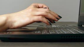 Mujer joven que mecanografía rápidamente en el teclado del ordenador portátil almacen de video