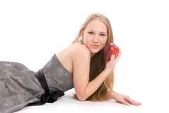 Mujer joven que miente en el suelo Fotografía de archivo