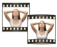 Mujer joven que mira para arriba Imagenes de archivo