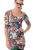 Mujer joven que modela a Mini Dress apretado corto Imágenes de archivo libres de regalías