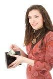 Mujer joven que muestra el dinero Imagenes de archivo