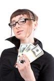 Mujer joven que muestra el dinero Fotografía de archivo libre de regalías