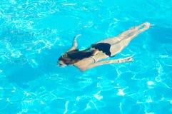 Mujer joven que nada bajo el agua en la piscina Fotos de archivo