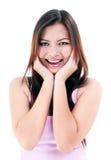 Mujer joven que parece sorprendida Fotografía de archivo libre de regalías