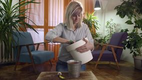 Mujer joven que planta y que riega un jacinto en hogar moderno almacen de video