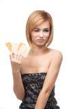 Mujer joven que rechaza comer el pan sano Foto de archivo