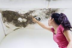 Mujer joven que señala en el daño del tejado Imagen de archivo libre de regalías