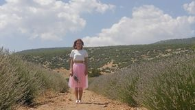 Mujer joven que se coloca en el campo de la lavanda almacen de metraje de vídeo