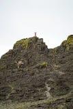 Mujer joven que se coloca en el top del acantilado Foto de archivo