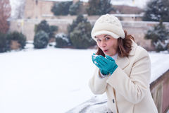 Mujer joven que se divierte con nieve el día de invierno Fotografía de archivo