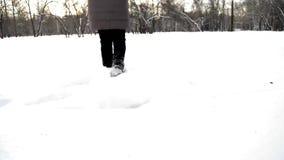 Mujer joven que se divierte que corre alrededor en la nieve, el júbilo y el baile, día escarchado en el parque metrajes
