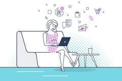 Mujer joven que se sienta en el sofá en casa que trabaja con el ordenador portátil y que utiliza nuevo servicio del comercio elec ilustración del vector