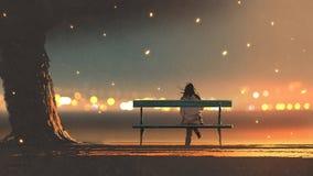 Mujer joven que se sienta en un banco con el ligh del bokeh libre illustration