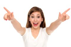Mujer joven que señala los dedos Imágenes de archivo libres de regalías