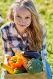 Mujer joven que sostiene el cajón de madera con las verduras Imagen de archivo libre de regalías