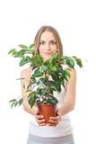 Mujer joven que sostiene el houseplant, isolaterd en blanco Imagen de archivo libre de regalías