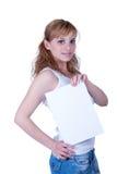 Mujer joven que sostiene el papel A4 Foto de archivo