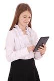 Mujer joven que sostiene la tablilla digital Foto de archivo