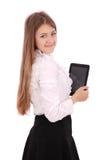 Mujer joven que sostiene la tablilla digital Imagen de archivo