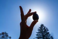 Mujer joven que sostiene su huevo sagrado del jade del yoni para arriba en el cielo foto de archivo libre de regalías