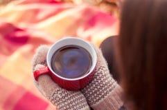 Mujer joven que sostiene una taza roja grande con té foto de archivo libre de regalías