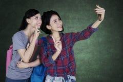 Mujer joven que toma un selfie con su amigo Imágenes de archivo libres de regalías