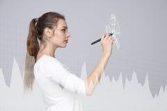 Mujer joven que trabaja con la carta del gráfico Tecnologías futuras para el negocio, concepto del mercado de acción Fotografía de archivo libre de regalías