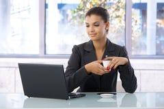 Mujer joven que usa la computadora portátil Imagenes de archivo