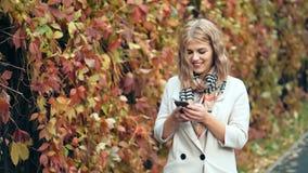 Mujer joven que usa smartphone durante paseo en parque del otoño almacen de video