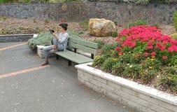 Mujer joven que usa su tableta Fotografía de archivo