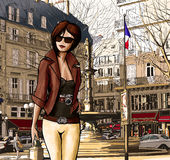Mujer joven que visita París Foto de archivo libre de regalías